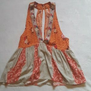 Free people tank top orange pink flowy